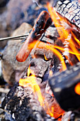 Grilling sausages on a campfire (close-up)