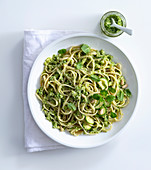 Linguine with courgette, mint and pine nut pesto