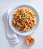 Fusilli with a pepper, goat's cheese and hazelnut pesto