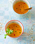 Pumpkin soup with coriander and sesame seeds
