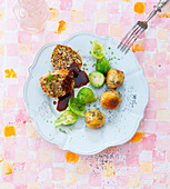 Nut roast with brussels sprouts and poppy seed potato dumplings