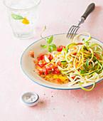 Zucchini spaghetti with tomato sauce