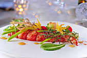 Poached lobster with cress cream