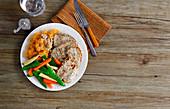 Porc steak with vegetables