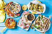 Fünf verschiedene Gerichte mit Makrele