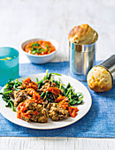 Crispy chicken livers with spinach and corn bread