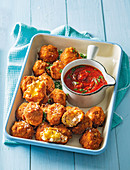 Crispy samp balls with homemade tomato sauce