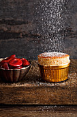 Black bread souffle with preserved damsons