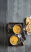 Curried butternut and lentil soup with garlic naan