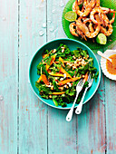 Summer salad and grilled prawns