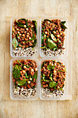 Mince with chickpeas and rice