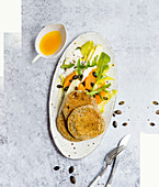 Chia pancakes with chicory and orange
