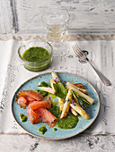 Marinated salmon trout with asparagus and wild herb pesto