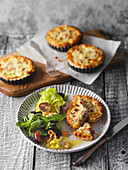 Mini onion quiches with an autumnal side salad