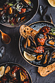Spicy gochujang mussel pot