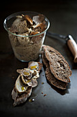 Faux liver pate made from mixed lentils with truffles