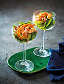Traditional ritz with prawns and avocado