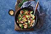 Pork dumpling and Asian greens stir-fry