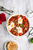 Shakshuka with green peppers