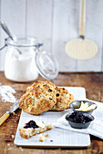 Raisin bread with butter and jam