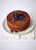 A layered tiramisu cake with blueberries