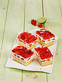 Lime and cream slices with strawberries