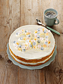 A birthday cake with cream cheese