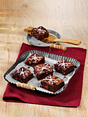 Mulled wine brownies with cranberries