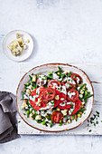 Heirloom tomato and mixed bean salad with blue cheese dressing