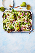 Savoy, pear and pecan salad with honey lemon dressing