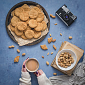 Peanut butter cookies and cup of fresh coffee