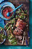 Baked lamb with lentil and eggplant salad
