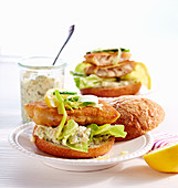 Fried fish breadcrumbs with cucumber remoulade and lemon