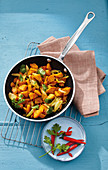 Fried sweet potatoes with chilli