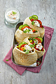 Vegetable gyros in pita bread