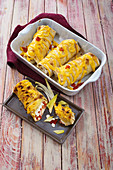 Burritos with pepper cream cheese and chicory
