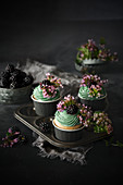 Blackberry cupcakes with flowers