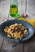 Pappardelle sul cinghiale (pappardelle with a wild boar sauce, Italy)