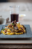 Pappardelle with lamb and artichokes
