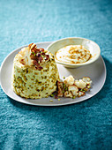 Cauliflower and pistachio flan with curried cream cheese and roasted cauliflower florets