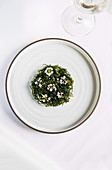Crab with cavolo nero, hazelnut, horseradish, trout roe and lemon jam