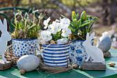 Oster-Arrangement mit Traubenhyazinthen, Hornveilchen und Tulpen in blau-weißen Töpfen