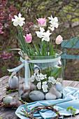 Narzissen 'Toto', Tulpen und Hornveilchen ohne Erde im Glas, Ostereier und Kränzchen aus Weide als Deko