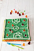 A football pitch cake