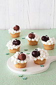 Sheep cupcakes decorated with mini marshmallows
