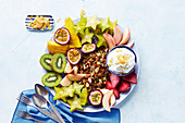 Summer muesli breakfast platter with vanilla labne