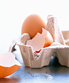 Half an eggshell and a whole egg in an egg carton