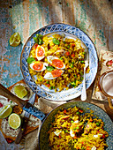 Smoked mackerel kedgeree with soft-boiled eggs