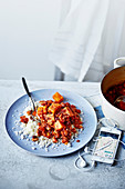 Veggie protein chilli with sweet potatoes, mixed beans and tomatoes