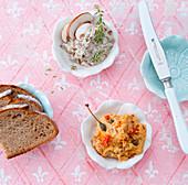 Spreads (mushroom cream and tomato-caper spread)